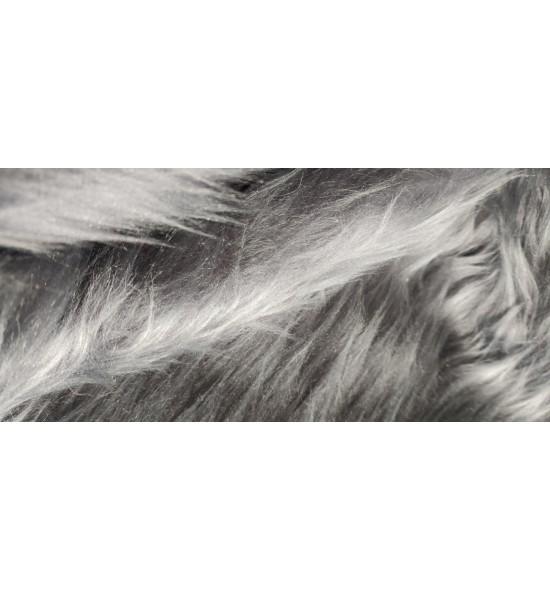 Umelá kožušina metráž - oceľová - vlas 50 mm